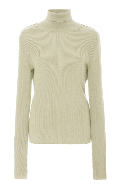 Sally LaPointe Ribbed Silk-Cashmere Turtleneck in green