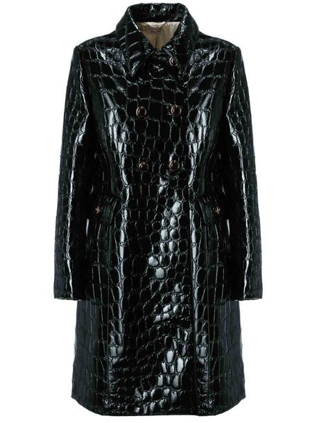 Miu Miu Double Breasted Coat in nero