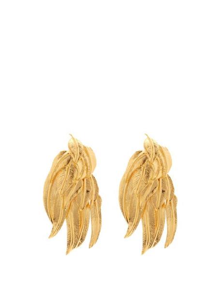 Aurélie Bidermann - Wheat Sheaf 18kt Gold-plated Clip Earrings - Womens - Gold