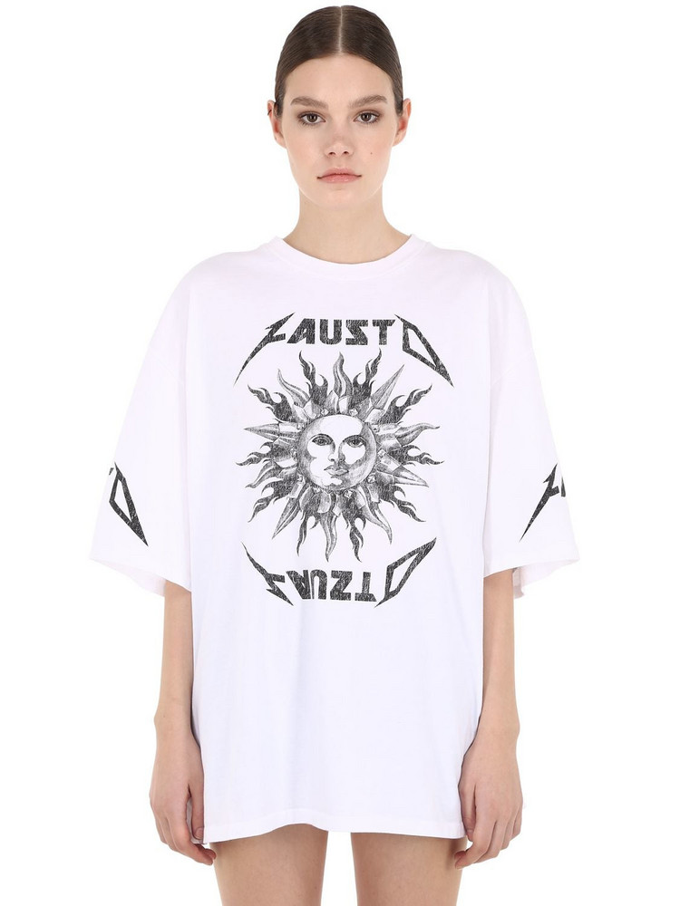 FAUSTO PUGLISI Oversize Printed Cotton Jersey T-shirt in white