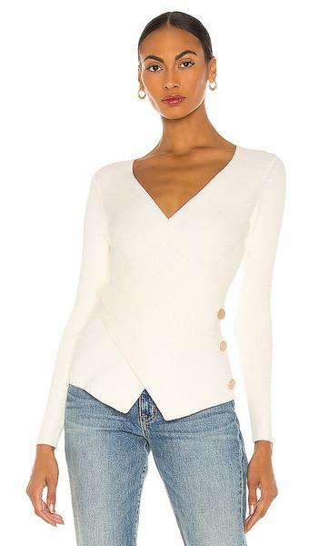 MILLY Crossfront Sweater in White in ecru