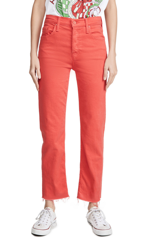 MOTHER Tomcat Ankle Fray Jeans in tomato