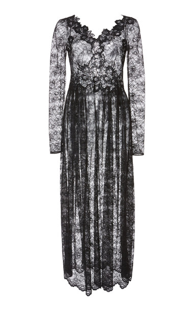 Paco Rabanne Sheer Lace-Detailed Midi Dress Size: 42 in black