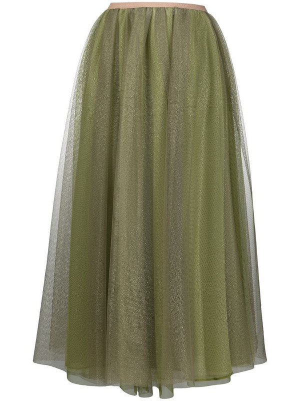 Pinko layered tulle midi skirt in green