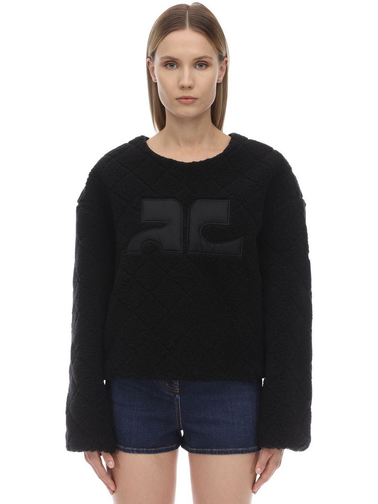 COURREGES Logo Faux Fur Sweatshirt in black