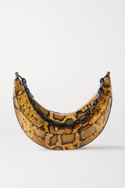 REJINA PYO - Banana Snake-effect Glossed-leather Shoulder Bag - Snake print
