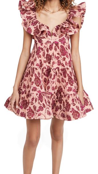 Zimmermann The Lovestruck Pleated Mini Dress in rose / burgundy