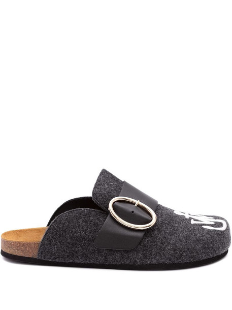 JW Anderson embroidered logo felt loafer mules in grey
