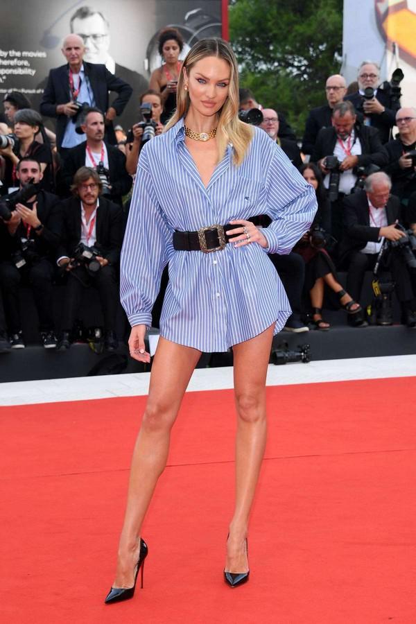 top stripes shirt candice swanepoel celebrity belt venice shift dress model red carpet dress