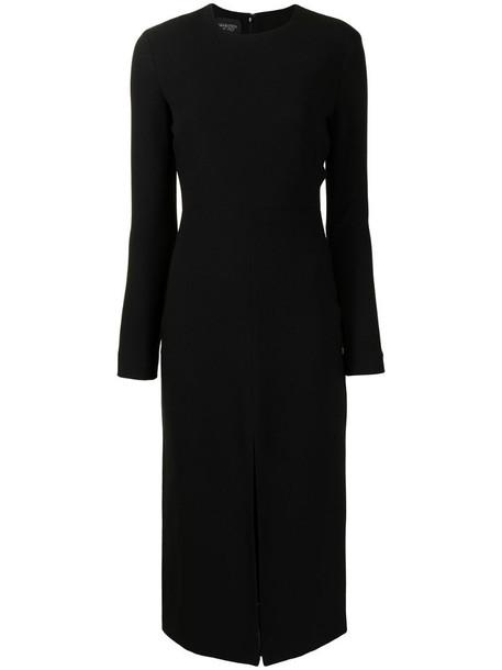 Giambattista Valli round neck long-sleeved midi dress in black