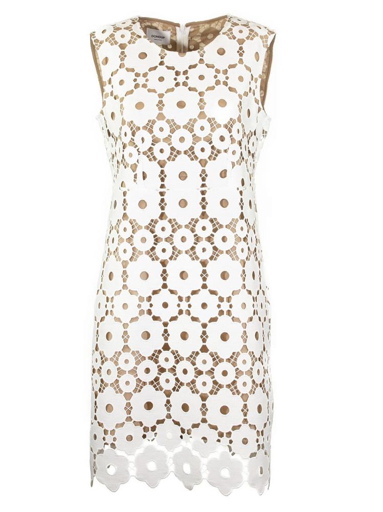 Dondup Lace Sheath Dress in white