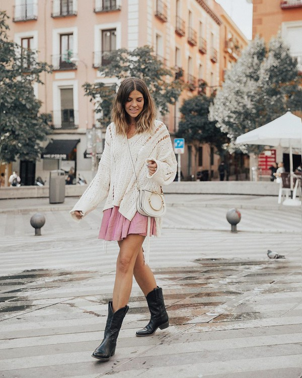 shoes black boots ankle boots cowboy boots mini skirt white sweater crossbody bag