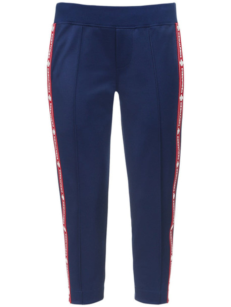 DSQUARED2 Crop Cotton Blend Sweatpants in blue / red