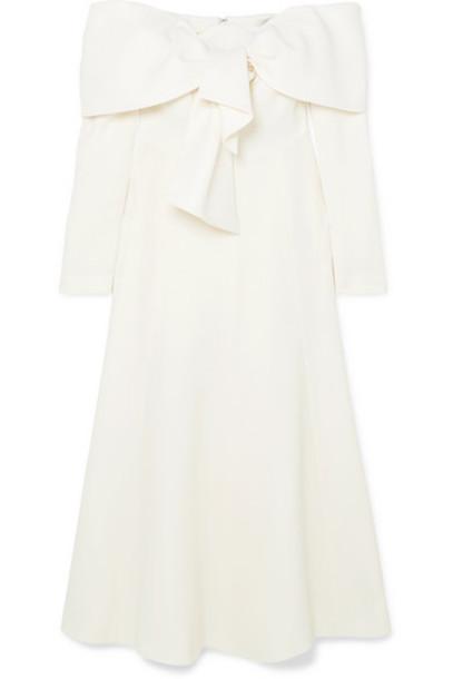 Lela Rose - Off-the-shoulder Tie-front Wool-blend Crepe Midi Dress - Ivory