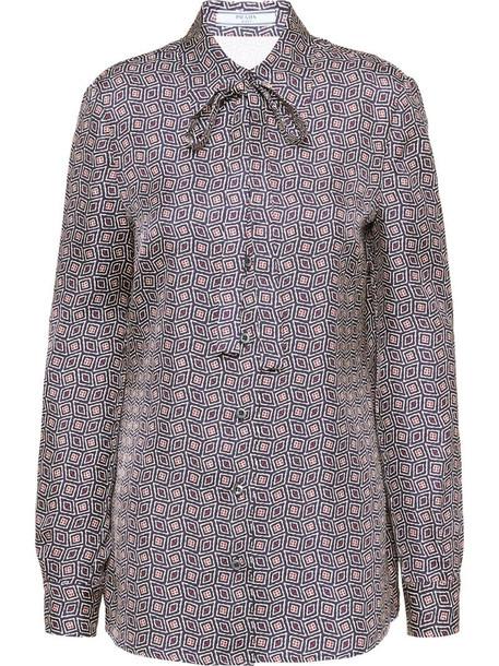 Prada geometric print twill shirt in blue