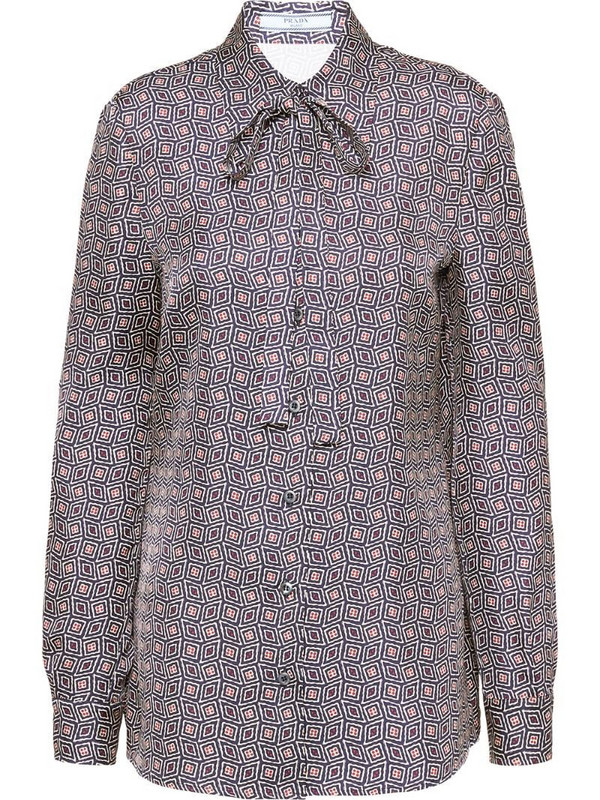 Prada geometric print twill shirt in blue