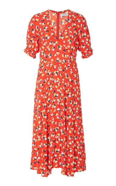 Faithfull The Brand Ari Floral Midi Dress Size: S in red