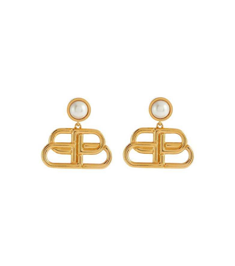 Balenciaga BB-pendant stud earrings in gold