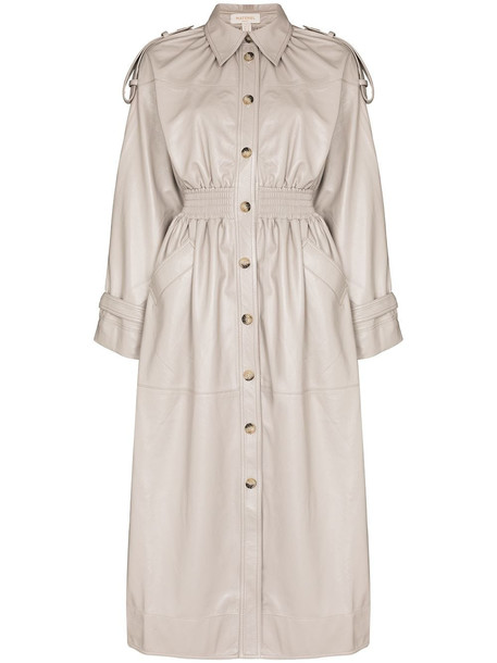 Materiel faux-leather single-breasted coat - Neutrals