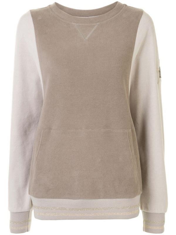 Lorena Antoniazzi star-patch contrast-sleeve jumper in brown