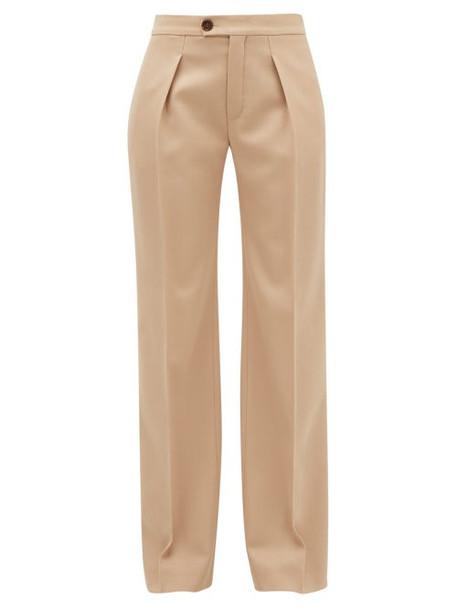 Chloé Chloé - Pleated Wide-leg Wool-blend Trousers - Womens - Tan