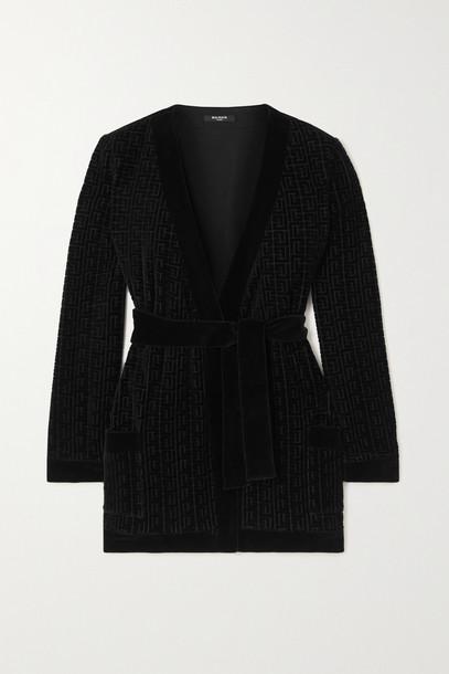 BALMAIN - Belted Flocked Cotton-blend Velvet Cardigan - Black