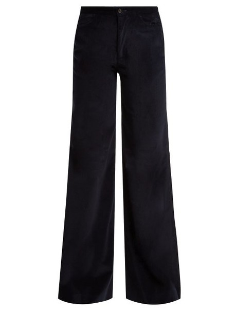 Connolly - Needle Wide Leg Corduroy Trousers - Womens - Navy