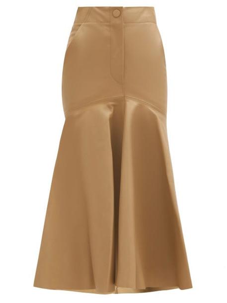 Petar Petrov - Ryo Peplum-hem Leather Skirt - Womens - Beige