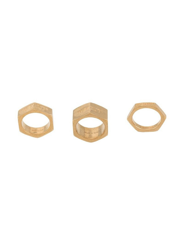 Off-White hex nut-shaped ring in gold