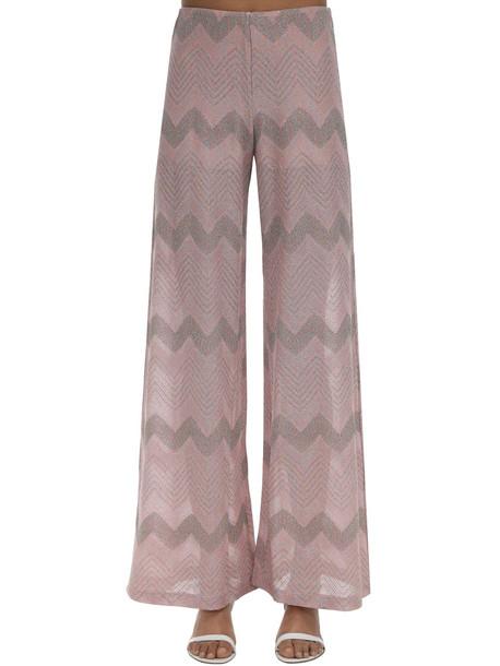 M MISSONI Zig Zag Lurex Knit Flared Pants in pink