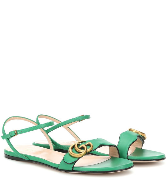 Gucci Double G leather sandals in green