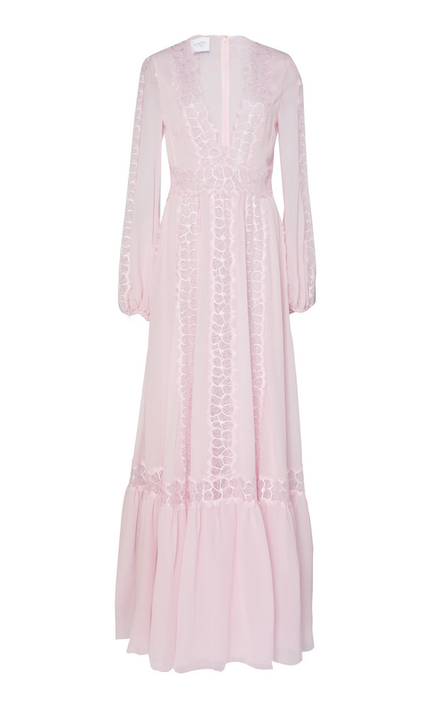 Giambattista Valli Lace Inset Silk-Chiffon Gown in pink