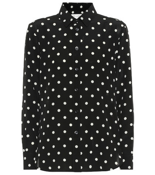 Saint Laurent Polka-dot silk shirt in black