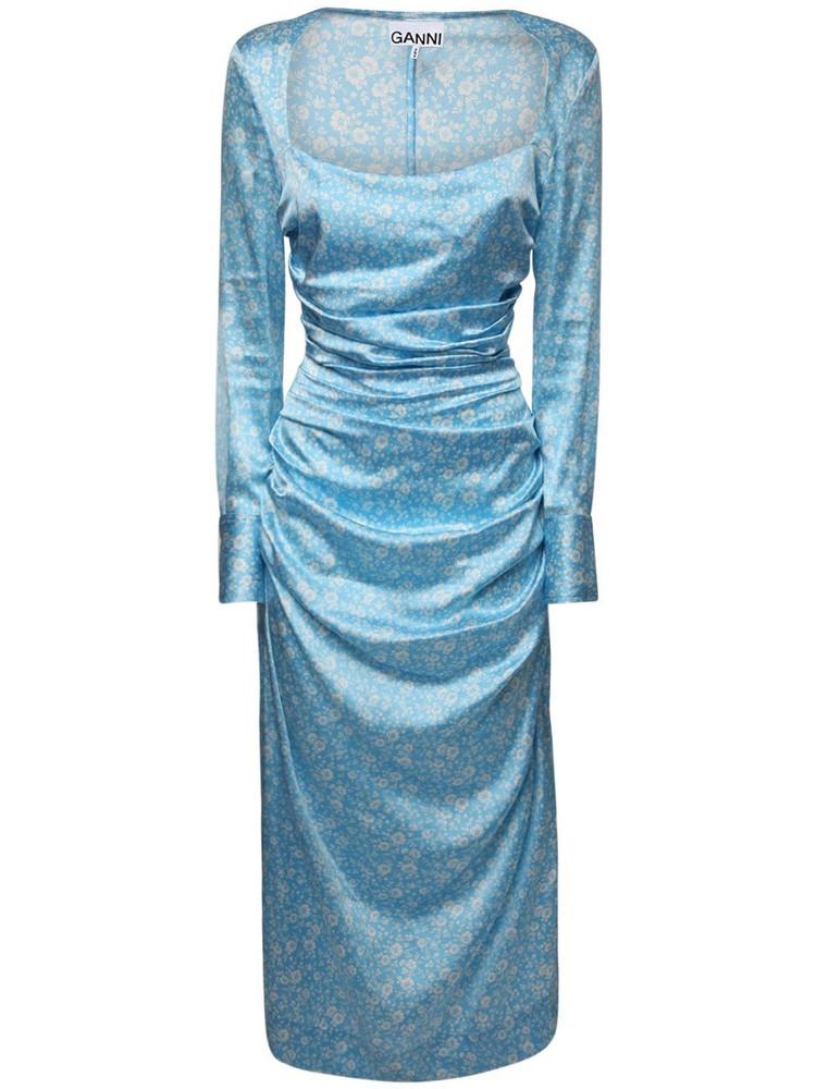 GANNI Draped Stretch Silk Satin Midi Dress in blue