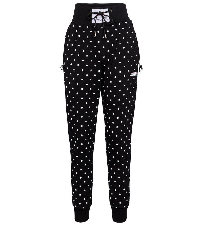 Adam Selman Sport Polka-dot high-rise cotton-blend sweatpants in black
