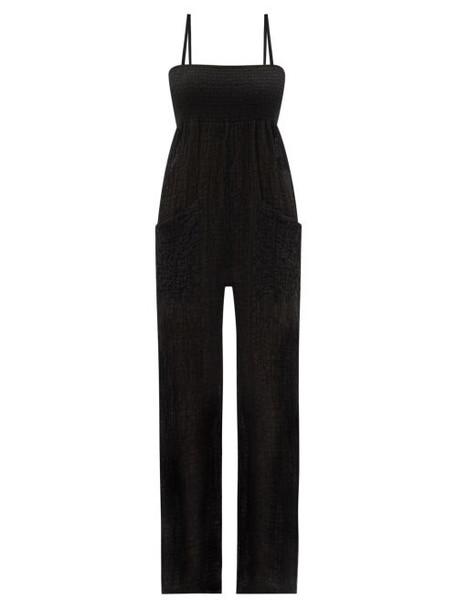 Three Graces London - Tallie Shirred Cotton-blend Cloqué Jumpsuit - Womens - Black