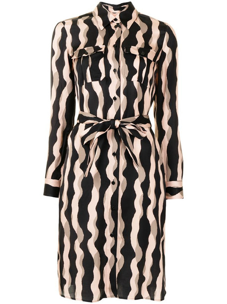 Paule Ka wavy stripe print shirt dress in black