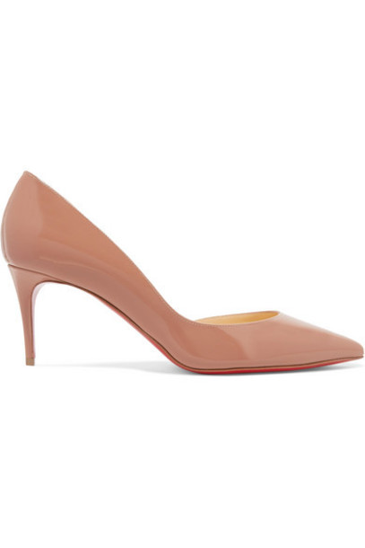 Christian Louboutin - Iriza 70 Patent-leather Pumps - Neutral