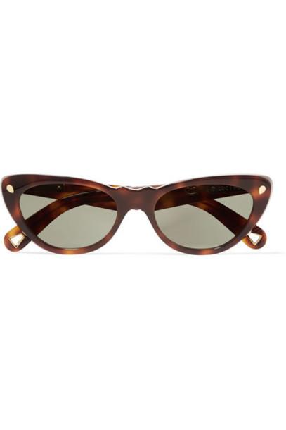 Lucy Folk - Slice Of Heaven Cat-eye Tortoiseshell Acetate And Gold-tone Sunglasses - Brown