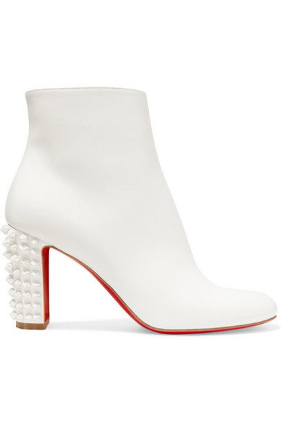 Christian Louboutin - Suzi Folk 85 Spiked Leather Ankle Boots - White