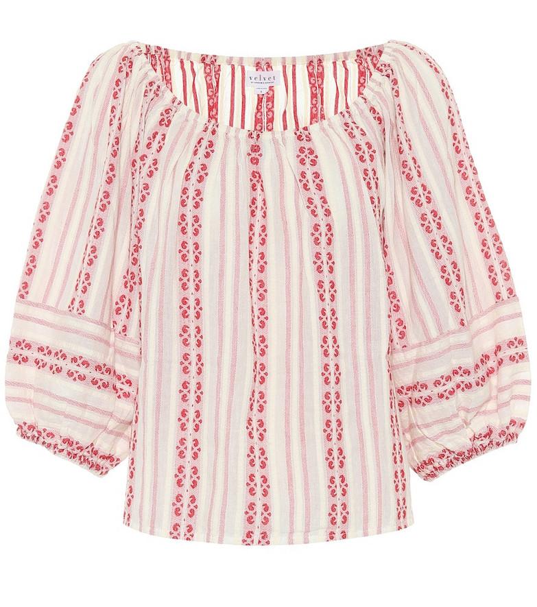 Velvet Vivette striped cotton blouse in red