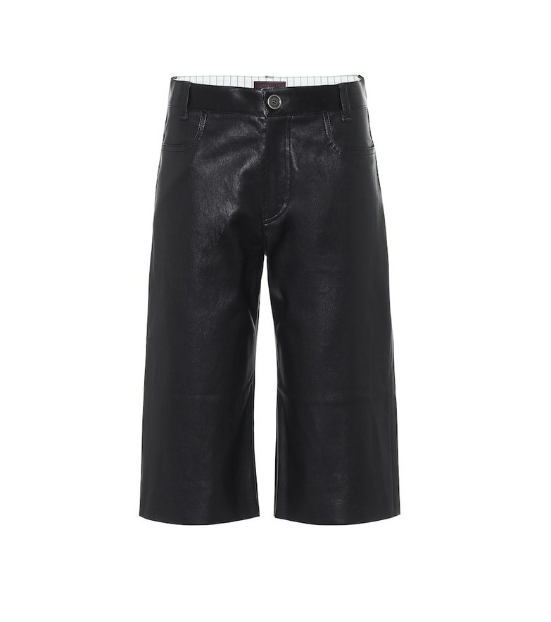 Stouls Sofiane leather Bermuda shorts in black