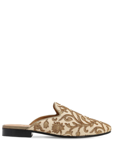 I WAS A SARI Hand-embroidered Upper Mules in gold / beige