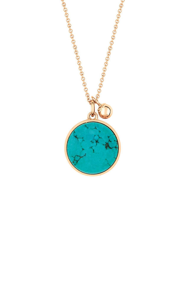 Ginette NY Ever 18K Rose Gold Turquoise Disc Necklace in blue