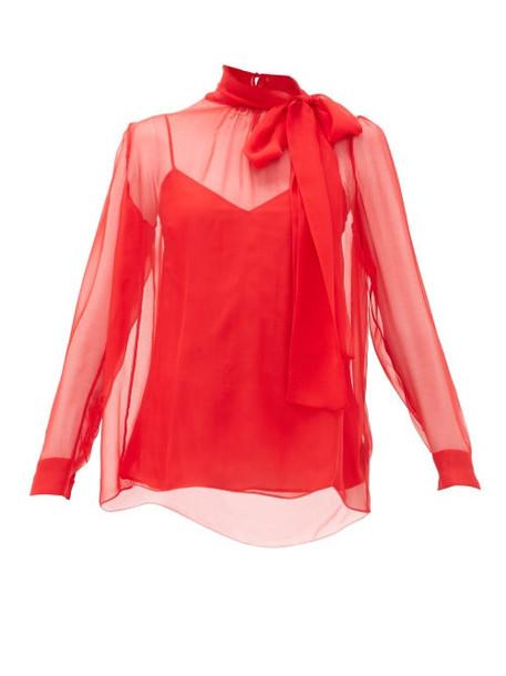 Valentino - Pussy Bow Silk Chiffon Blouse - Womens - Red