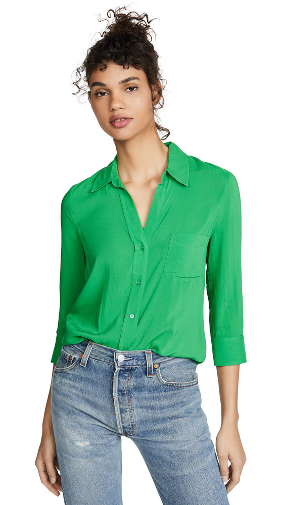 L'AGENCE Ryan 3/4 Sleeve Blouse in green