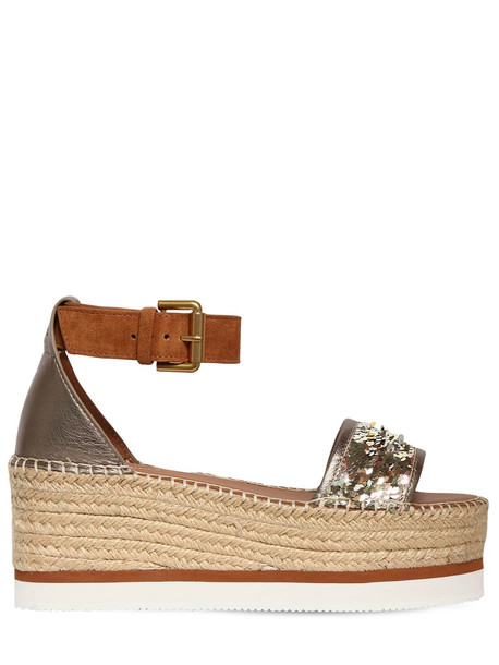 wedges leather wedges leather sequins gold tan shoes