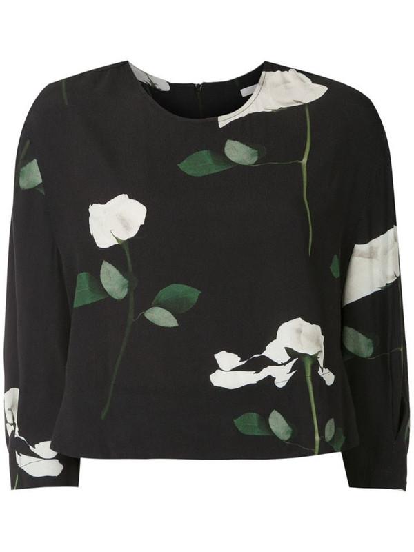 Osklen rose print cropped blouse in black