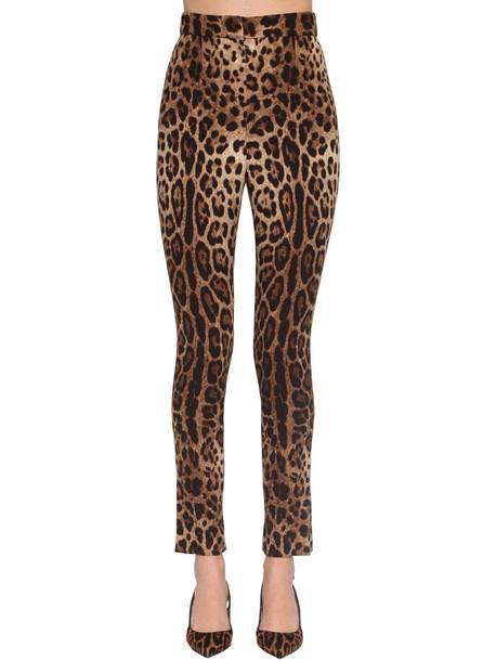 DOLCE & GABBANA Printed High Waist Charmeuse Pants in leopard