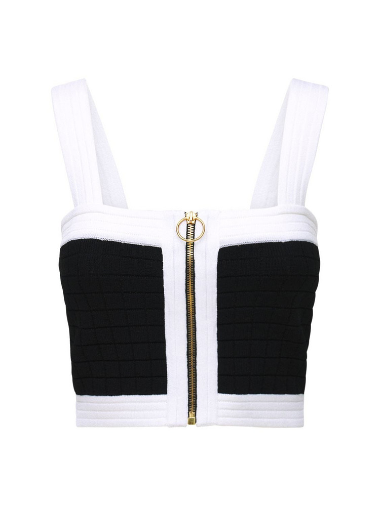 BALMAIN Viscose Blend Knit Zip Up Crop Top in black / white